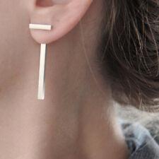 Long Silver T Bar Earrings Geometric Minimalist Thin Elegant Simple Jacket Drop