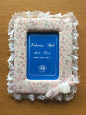 """New Victorian Style Pink White Floral Padded Photo Frame 5"""" x 3.5"""", Shabby Chic"""