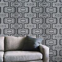 Modern Wallpaper charcoal gray silver metallic wave Textured trellis wavy lines
