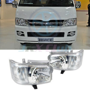 1Pair Clear Lens Projector Headlights Lamp Fit For Toyota Hiace 200 Van 2005-10