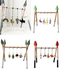 Baby Play Stand Foldable Wood Rack Nursery Hanging Wooden Toy Activity Gym Gifts