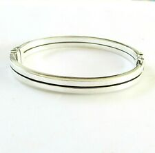 Solid silver hinged bangle bracelet 7 inches long