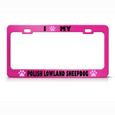 Polish Lowland Sheepdog Paw Love Pet Dog Metal License Plate Frame Tag Holder