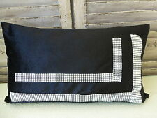 Black rectangular cushion cover with rhinestones, luxury home decor