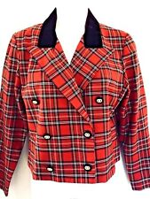 VTG. SCHOOL GIRL RED TARTAN PLAID ENGLISH STYLE CROP JACKET w VELVET COLLAR - 6P