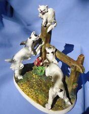 "1950s Schnauzer dogs & cat Mollica Italy 9"""