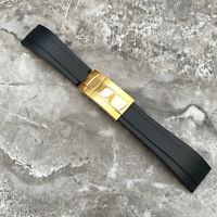 20MM Schwarz Silikonkautschuk Uhr Armband + Gold Schließe Für Rolex Oysterflex