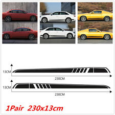 Pair Black Stripe Vinyl Decal For Car SUV Side Body Sticker Accessories 230x13cm