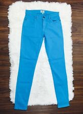 FOSSIL Womens Skinny Bright Blue Skinny Jeans Sz 25 Turquoise Stretch Fitted EUC