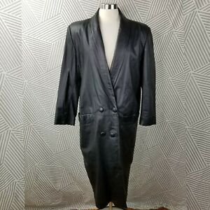 Vintage Long Leather Coat size Medium Trench Jacket Steampunk costume Cosplay