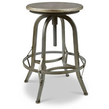 NEW! RUSTIC RETRO CHESTER BARSTOOL - STEEL ROTATING PEWTER BAR STOOL-SET OF 4