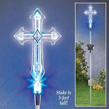 Cross Solar Light Garden Stake Yard Art Memorial Marker Beloved One Light-up