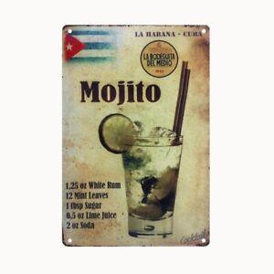 Bild Retro Blechschild Bar Mojito 30 x 20 cm Wandbild Bilder 2305