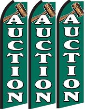 Auction Standard Size Swooper Flag banner sign pk of 3