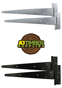 PAIR of Strong Tee Hinges Heavy Duty Gate Shed Garden Various Sizes and Finishes