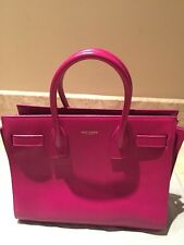 YSL Saint Laurent Sac De Jour Nano Leather Tote Handbag Fuschia $1800