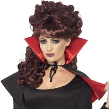Mini Vamp Vampire Cape Red & Black With High Collar Halloween Fancy Dress 23198