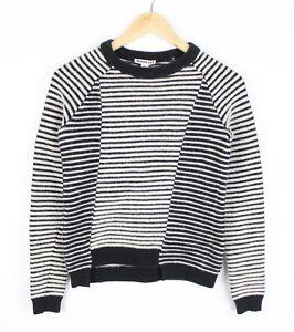 Whistles Womens Striped Black Beige Wool Blend Knit Slim Jumper - Size S