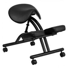 Ergonomic Kneeling Chair With Black Saddle Seat and Adjustable Height