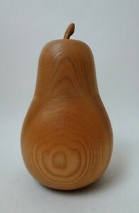 Contemporary wooden pear shaped box and cover