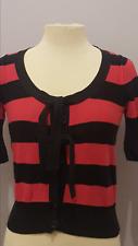 SONIA RYKIEL H&M women S sweater hot pink black stripe cropped button soft knit