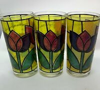 3 Vintage Libby Yellow Frosted Stained Glass Tulip Pattern Tumblers / Drinking