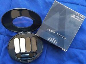 Avon True Color Eyeshadow Midnight Metallics Quad~Black/Whites~New~