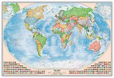 Politische Weltkarte, 120 x 80 cm, deutsch, Pinnwand im Alurahmen