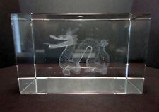 Chinese Dragon with Pearl Laser Picture in Rectangle Crystal  80mm - Gift Boxed