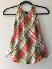 BURBERRY Girls Yellow Orange Plaid Embroidered 100% Cotton Check Dress 18 Months