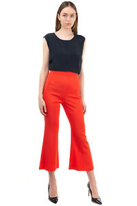 RRP €210 ELISABETTA FRANCHI Crepe Flat Front Trousers Size 42 / M Made in Italy
