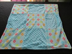 Blankets and Beyond Blue Baby Blanket Diamonds, Geometric Patchwork Security Boy