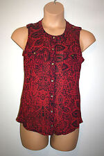 NEW Womens THE LIMITED Sheer Sleeveless Utility Button Down Shirt Top Medium M