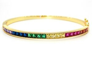 Stainless Steal 9kt Yellow Gold Over layered Multi Stone Bracelet
