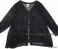 CATHERINES NEW Woman PLUS 2X 22 24 Black Zipper Cardigan Sweater Open Knit Sheer
