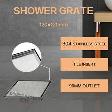 120mm Stainless Steel Bathroom Shower Grate Drain Tile Insert Floor Waste Square