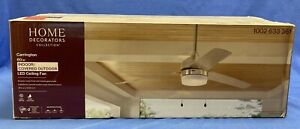 HDC Carrington 60 in. LED Indoor/Outdoor Brushed Nickel Ceiling Fan w/ Light Kit