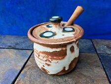 Antique Pottery Bowl Apothecary RAKU Honey Pot Polka Dot Cow Spot OOAK UNIQUE