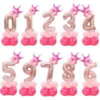 32inch Number Foil Balloons Pink&Blue Digit Helium Ballons Birthday Party Decor
