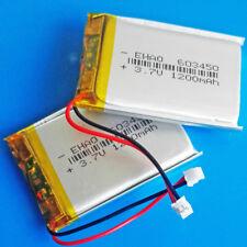2 pcs 3.7V 1200mAh Li polymer Battery For Camera DVD GPS PSP 603450 JST 1.5mm