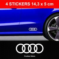 Stickers ANNEAUX AUDI Blanc 4 Autocollants Adhésifs Bas de Caisse 14,3 cm x 5 cm