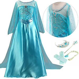 ELSA Princess Dress Costume Snow Queen Suit Girls Fancy Dress Halloween Party