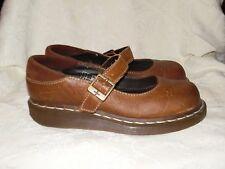 Dr Martens womens Brown Leather Mary Janes Shoes Sz 38 / 7 US