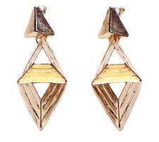 STRIKING GOLD CHUNKY GEOMETRIC PYRAMID EARRINGS, CONTEMPORARY DESIGN (NS4)