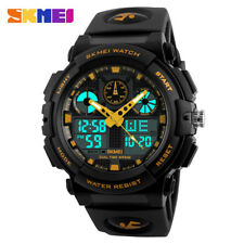 SKMEI Mens Sport Watches Quartz Digital LED Dual Display Wristwatch Waterproof