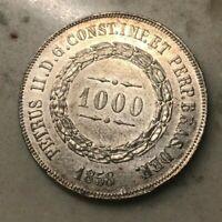 1858 Brazil 1000 Reis - Nice Silver