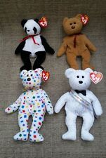 (4) Ty Beanie Babies Bears, Fortune, Curly, Ty 2K, New Year 2007, Nwt