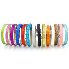 wholesale 50pcs glitter PU Leather Wristband Fit 8mm DIY Slide Charms letters