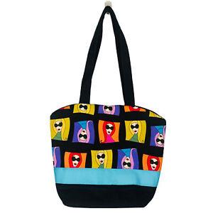 FUN Colorful Cartoon Art Pattern Fabric Shoulder Bag Tote Purse