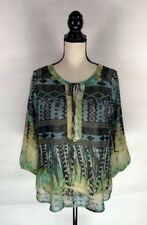 Fig and Flower Anthropologie Blouse Boho Womens Sz M Green Print Sheer Crochet